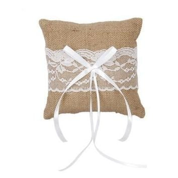 Wedding Pocket Ring Pillow Cushion Bearer Burlap Lace Rustic Style 15 x 15cm [7982966471]