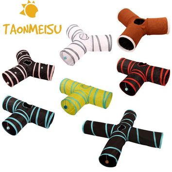 Foldabe Pet Cat Tunnel T-joint Tunnel Tubes Indoor Outdoor Pet Cats Training Toys for Cat Kitten Rabbit Animals Playing