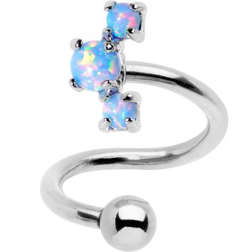 Blue Synthetic Opal Cluster Spiral Twister Top Mount Belly Ring