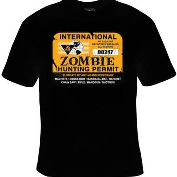 T Shirt ZOMBIE HUNTING PERMIT Cool Funny Humor TShirts Tees,  Tee T-Shirt zombies clothes