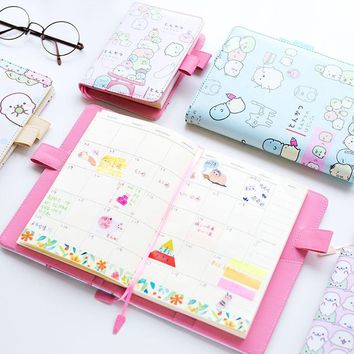 A5 B6 Cute Molang Sumikko Notebook Weekly Monthly Planner Calendar Kawaii Stationery Agenda Book School Office Supplies Gift