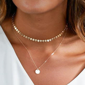 New Fashion Gold Coin Layered Necklace Set For Women Charm Choker Necklace