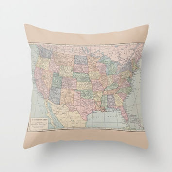 Map Pillow - United States of America - beautiful, USA,   unique, retro, pastel, original