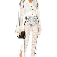 David Koma Side Snap Lace Trouser Pants in White & Black | FWRD