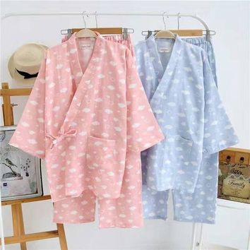 Traditional Japanese Pajamas Sets Yukata Girl Simple Kimono Cotton Loose Style Nightgown Sleepwear Bathrobe Leisure Wear Steam