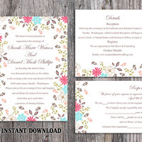 DIY Wedding Invitation Template Set Editable Word File Instant Download Printable Colorful Invitation Elegant Flower Wedding Invitation