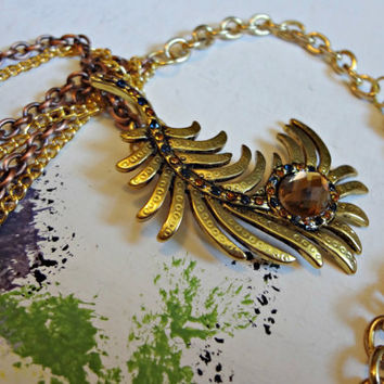 Gold Feather Pendant on Double Chain with by EudaimoniaJewelry