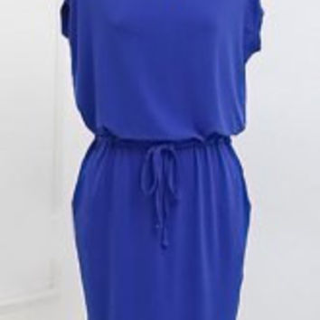 Plus Size Blue Scoop Neck Solid Color Short Sleeve Drawstring Dress