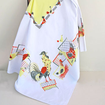 vintage 1950s tablecloth rooster and hens