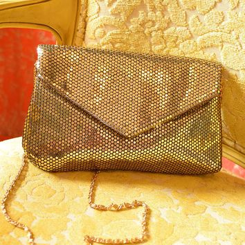 1960s Lumured Gold Mesh Look Evening Bag Purse