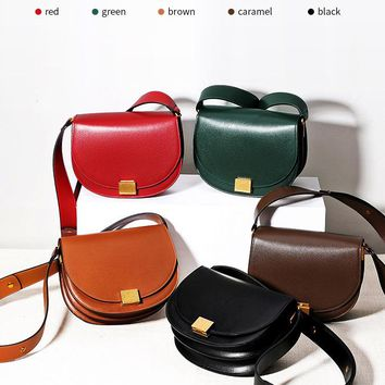New leather shoulder women's saddle bag