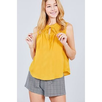Sleeveless Ruffle Neck W/self Tie Smocked Yoke Detail Front Button Woven Top ()