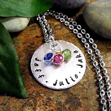 Mother's Day Jewelry, Personalized Jewelry, Name Necklace, Hand Stamped Jewelry, Jewelry for Mom, Birthstone Necklace