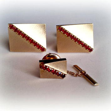 Cuff Links and Tie Tack Set, Formal, Wedding, Prom, Red Rhinestone Art Deco Style, Brushed Gold, Vintage Sarah Coventry