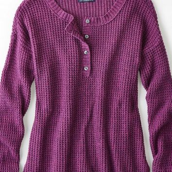 AEO Women's Henley Sweater (Strawberry Ice)