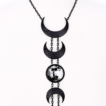 Gypsy Goth Moon Phase Lunar Phases lunar cycle Long Necklace