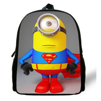 12inch Small infants child cartoon School Bag Toddler Despicable Me Minions School Backpack for Boys Girl kids kindergarten Cute