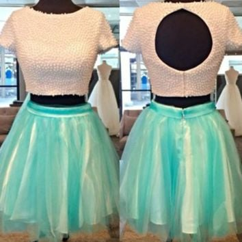 Homecoming Dress, Two Piece Short Sleeves Homecoming Dress with Pearls