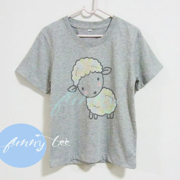Little sheep shirt Crew neck sweatshirt Short sleeve tee shirts+off white or grey toddlers shirt +kids girl boy clothes