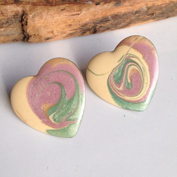 Vintage Enamel Earrings, Heart Earrings, Vintage Heart Earrings, Cream Enamel, Pink Enamel, Green Enamel, Post Earrings