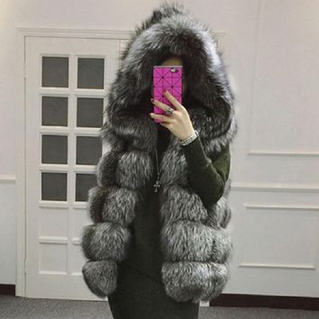 2018 New fur vest imitation silver fox fur coat hooded vest vertical stripe medium-long vest large size women faux fur vest coat
