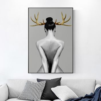 Modern Black And White Gold Sexy Woman Cuadro Canvas Painting Pictures For Livingroom Toilet Pub Bar Art Print Hot Wall Poster