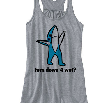 Left SHARK Turn Down 4 Wut Racer Back Flowy Tank | Left Shark Turn Down 4 wut Tank Top | Turnt Up | Turn Down For What Tank Flowy Bella Tank