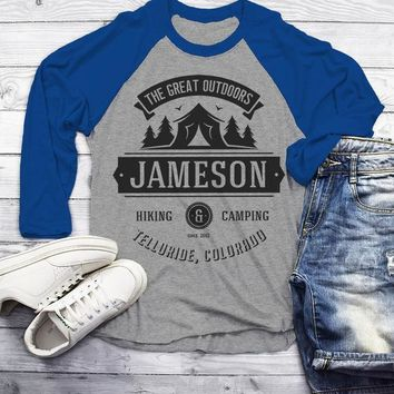 Men's Personalized Camping T Shirt Tent Great Outdoors Shirt 3/4 Sleeve Raglan Custom Graphic Tee Hiking Camper