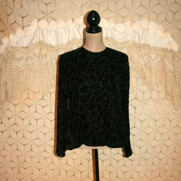 Long Sleeve Black Blouse Velvet Burnout Black Top Boho Bohemian Blouse Bohemian Top Boho Blouse Boho Top Size 10 Medium Womens Clothing