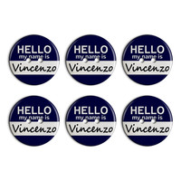 Vincenzo Hello My Name Is Plastic Resin Button Set of 6