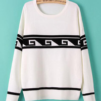 Long Sleeve Geometric Pattern Hedging Knit Sweater