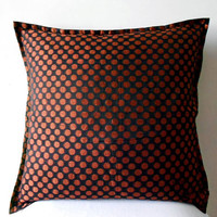 Decorative Throw Pillow cover in Black with Polka Dots Accent Pillows of Size 16 x 16  Pillow Cover Cushion Cover Home Décor