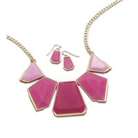Pink Acrylic Gold Tone Fashion Necklace and Earring Set