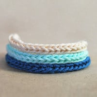 Blue ombre bracelet, turquoise, teal and beige, set of 3 knit bracelets