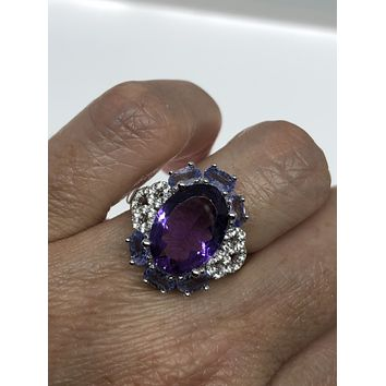 Vintage Genuine Amethyst Blue Tanzanite and white Sapphire 925 Sterling Silver ring