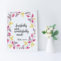 "Bible verse Inspirational poster ""Fearfully and Wonderfully made"" Psalm 139:14 Typography quote Motivational quote Home decor Wall art"