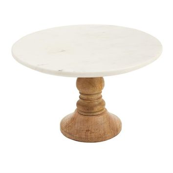 Marble and Wood Cake Stand