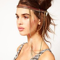 River Island Tan Feather And Charm Dangle Stretch Hair Band at asos.com
