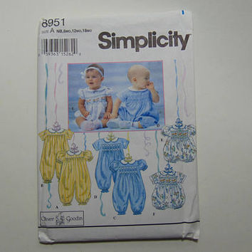 Simplicity 8951 Sewing Pattern Babies Romper in 2 lengths Size A UNCUT