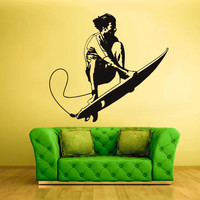 Wall  Decal Vinyl Sticker  Decor Art Bedroom Design Mural Surfing Surf Board Man Surfer Ocean Sport (z785)