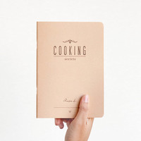 COOKING secrets - letterpress printed notebook - Pastel Salmon color - vintage design - COOK5007R