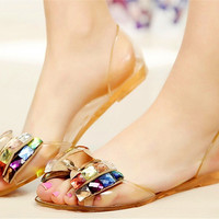 Summer Women Jelly Sandals Bling Bowtie Fashion Peep Toe Shoes Flats