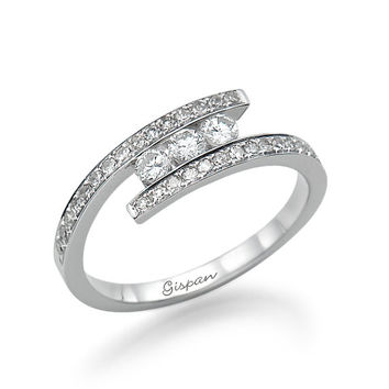 Art Deco Engagement Ring 14K White Gold With Diamonds, Diamond Ring. Promise Ring, Handmade Ring