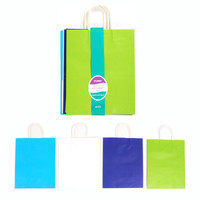 10 1/2W x 13H x 5 1/2G Large Bundled nautical White Kraft bag w/White Color Handle in 4 Colors/Case of 60