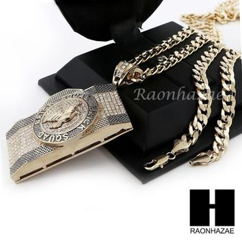 HIP HOP ICED OUT BRICK SQUAD PENDANT & DIAMOND CUT CUBAN LINK CHAIN NECKLACE N40