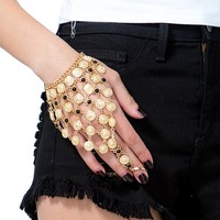 Textured Disc Ring to Wrist Hand Chain