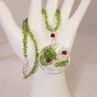 Peridot Necklace, Life Tree Pendant, Wire Wrapped Pendant, Gemstone Necklace, Handmade Jewelry, Green Necklace, UK Seller