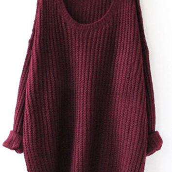 Wine Red Fashion Cozy Casual Sweater for Women