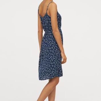 Crinkled Dress - Dark blue/patterned - Ladies | H&M US