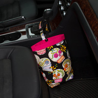Car Trash Bag BLACK SKULLS Calaveras by Alexander Henry, Women, Car Litter Bag, Auto Accessories, Auto Bag